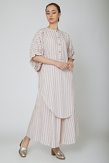 White Striped Long Tunic by Ritesh Kumar
