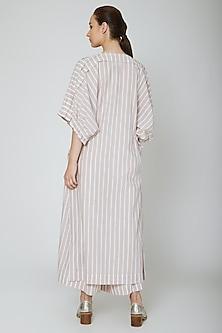 White Striped Long Tunic by Ritesh Kumar