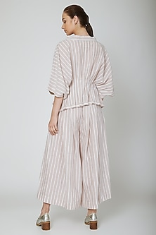 White Striped Wide Pants With Pleats by Ritesh Kumar