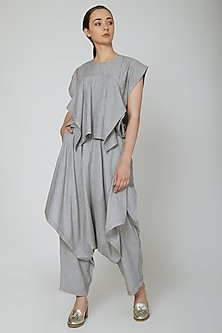 Grey Draped Loose Fit Pants by Ritesh Kumar