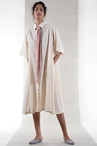 Off White Cotton Shirt Dress by Ritesh Kumar