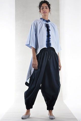 Navy Blue Loose Fit Jogger Pants by Ritesh Kumar