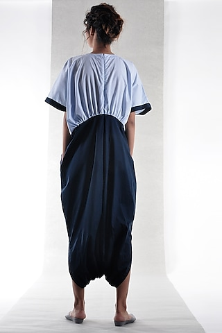 Sky Blue Cotton Jumpsuit by Ritesh Kumar