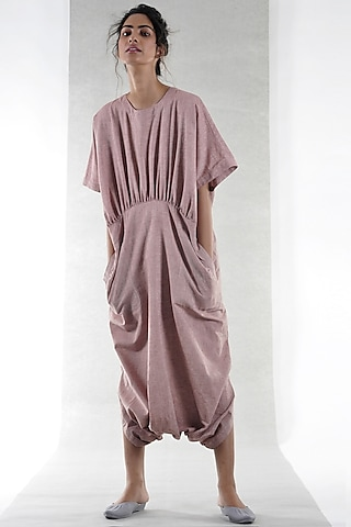 Coral Cotton Jumpsuit by Ritesh Kumar