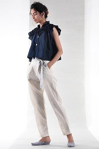 Off White Pleated Pants by Ritesh Kumar