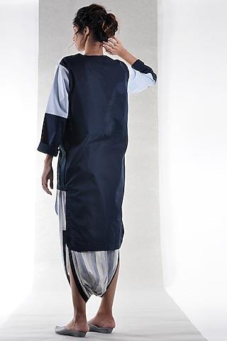 Sky Blue & Navy Blue Cotton Tunic by Ritesh Kumar