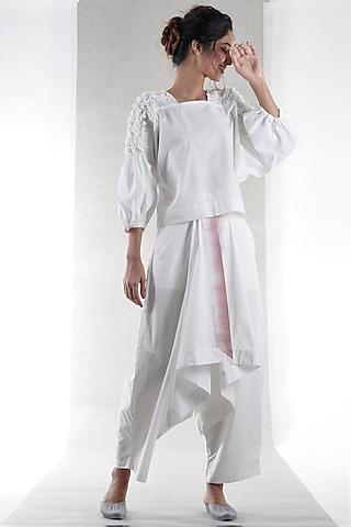 White Tie-Dye Draped Pants by Ritesh Kumar