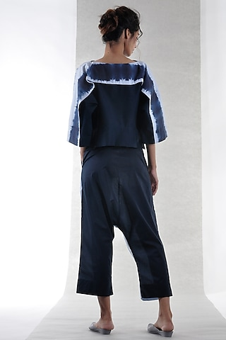Navy Blue Low Crotch Cropped Pants by Ritesh Kumar