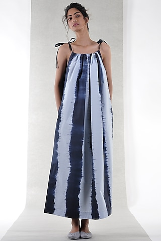 Navy Blue Tie-Dye Maxi Dress by Ritesh Kumar