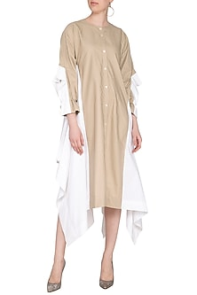 Beige & White Color Blocked Shirt Dress by Ritesh Kumar