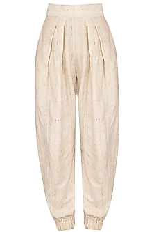 Cream Pleated Pants by Ritesh Kumar