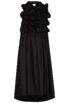 Black Bubble Textured Midi Dress by Ritesh Kumar