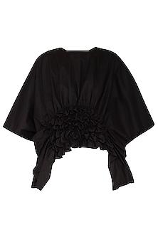Black Textured Kaftan Crop Top by Ritesh Kumar