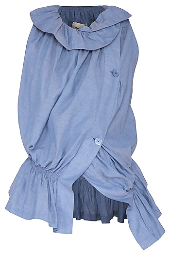 Sky Blue Ruched Vest Top by Ritesh Kumar