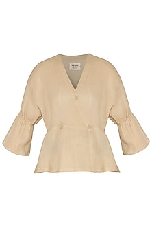 Beige Wrap Top With Button Closure by Ritesh Kumar