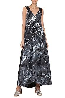 Black Hand Painted Wrap Maxi Dress by Ritesh Kumar