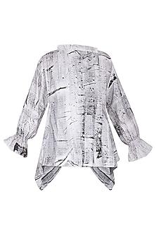 White Hand Painted Wrap Jacket by Ritesh Kumar