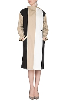 Beige Color Blocked Trench Dress by Ritesh Kumar