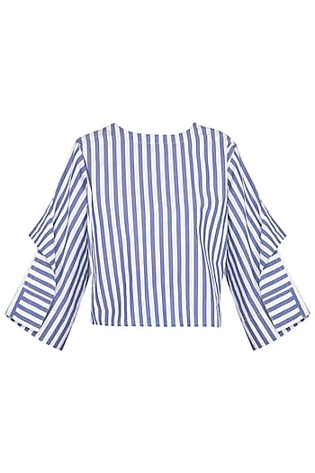 Blue & White Striped Boxy Fit Top by Ritesh Kumar