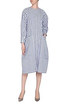 Blue & White Striped Shirt Dress by Ritesh Kumar