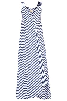 Blue & White Striped Wrap Maxi Dress by Ritesh Kumar