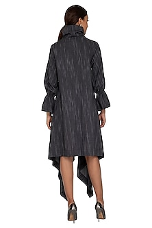 Charcoal Grey High Neck Pullover Dress by Ritesh Kumar