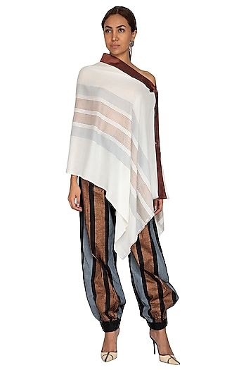 White Block Printed Shawl Cape by Ritesh Kumar