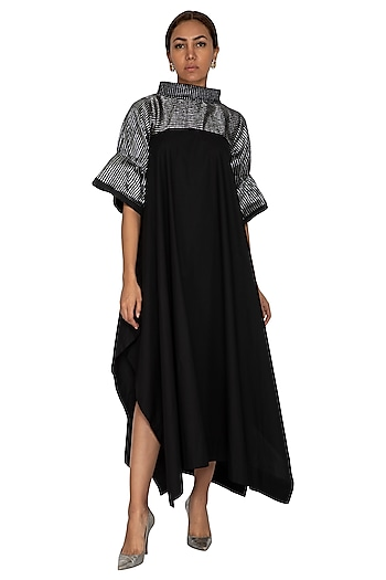 Black High Neck Midi Dress by Ritesh Kumar