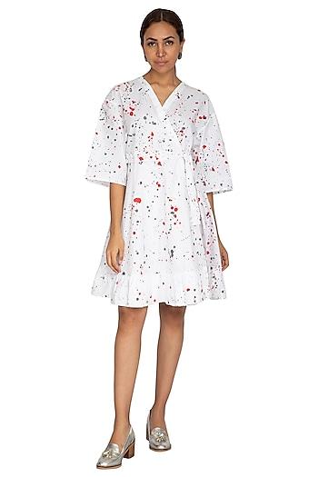 White Hand Painted Kimono Dress by Ritesh Kumar