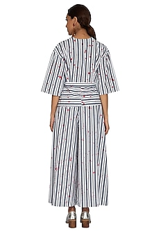 White Hand Painted & Striped Kimono Top by Ritesh Kumar