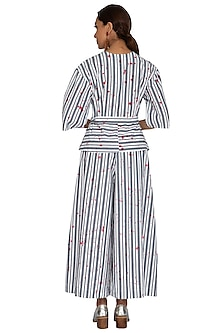 White Striped Wide Pants by Ritesh Kumar