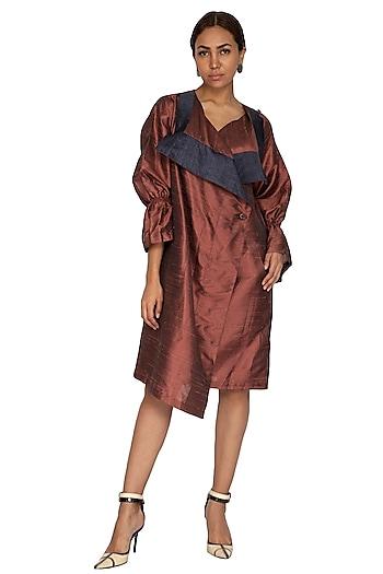 Rust Jacket Style Trench Dress by Ritesh Kumar
