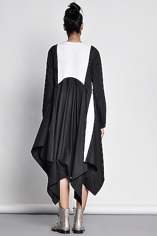 Black Shirt Dress With Quilted Yoke by Ritesh Kumar