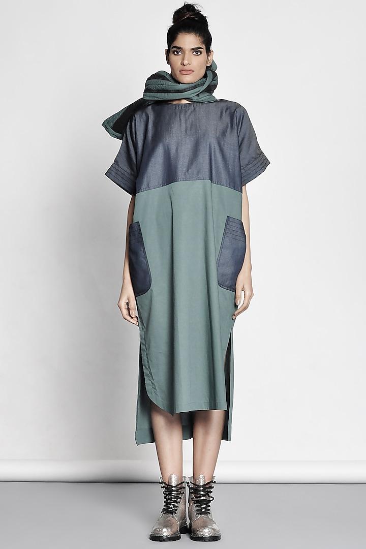 Emerald Green Color Blocked Dress by Ritesh Kumar