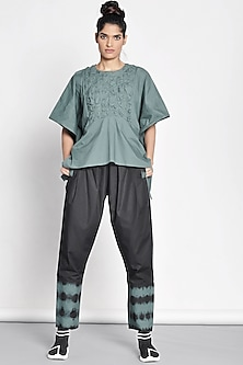 Emerald Green Poncho Top With Origami by Ritesh Kumar