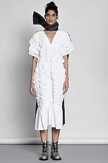 White Midi Dress With Origami by Ritesh Kumar