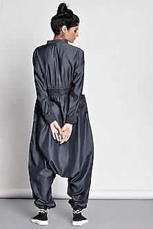 Cobalt Blue Quilted Jumpsuit by Ritesh Kumar