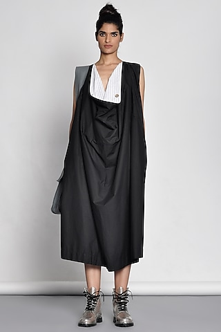 Black Dress With Draped Neckline by Ritesh Kumar