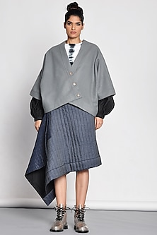Grey Kimono Jacket With Buttons by Ritesh Kumar
