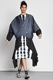 Cobalt Blue Quilted Kimono Jacket by Ritesh Kumar