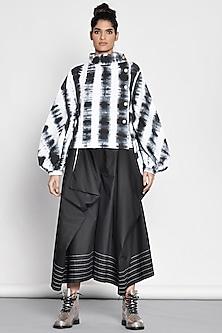 Black Draped Pants With Thread Stitch Lines by Ritesh Kumar
