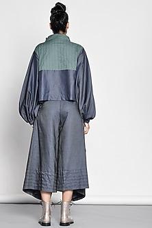 Cobalt Blue Draped Denim Pants by Ritesh Kumar