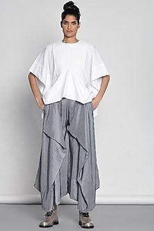 Silver Draped Silk Pants by Ritesh Kumar