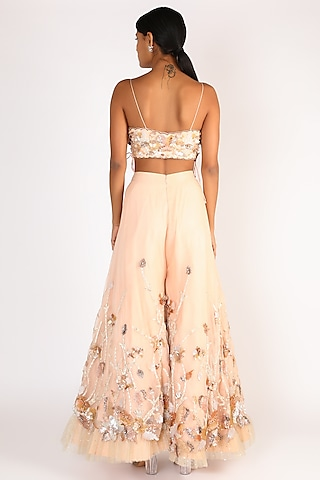 Peach Embroidered Palazzo Pant Set by Riddhi Majithia