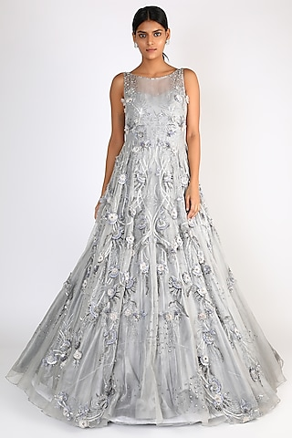 Grey Sequins Embroidered Gown by Riddhi Majithia
