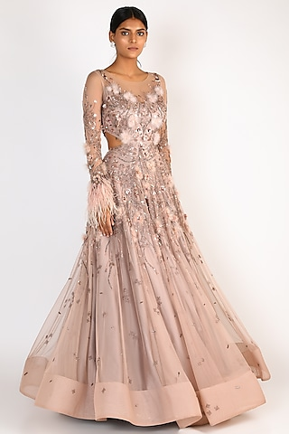 Nude Sequins Embroidered Gown by Riddhi Majithia