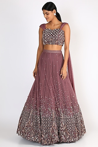 Wine Embroidered Blouse With Lehenga by Riddhi Majithia