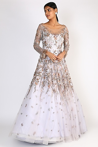 Mauve Embroidered Gown by Riddhi Majithia