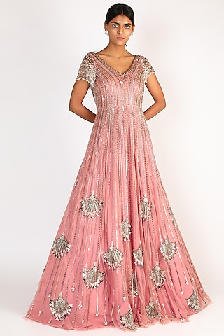 Blush Pink Embroidered Gown by Riddhi Majithia