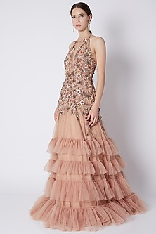 Pale Peach Sequins Embroidered Gown by Riddhi Majithia